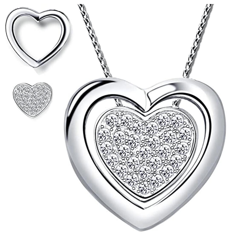 4in1 Herzkette aus echt 925er Sterling silber