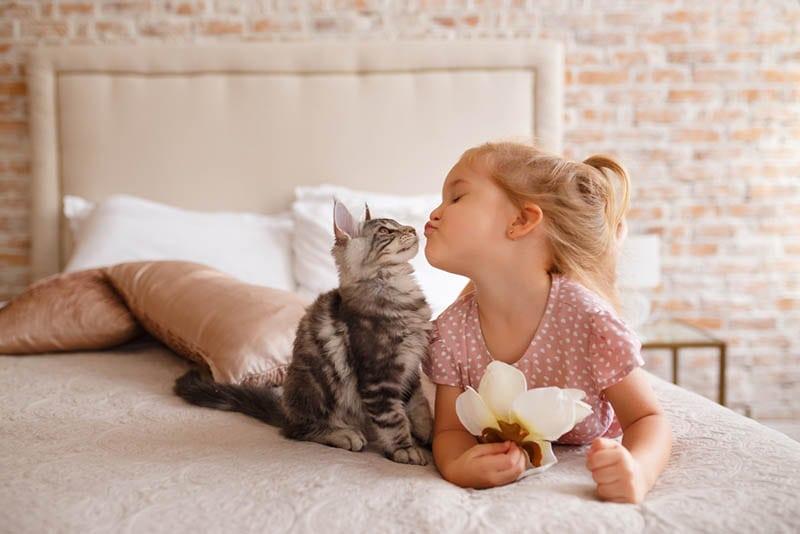 süßes kleines Mädchen küsst ihre Katze auf dem Bett