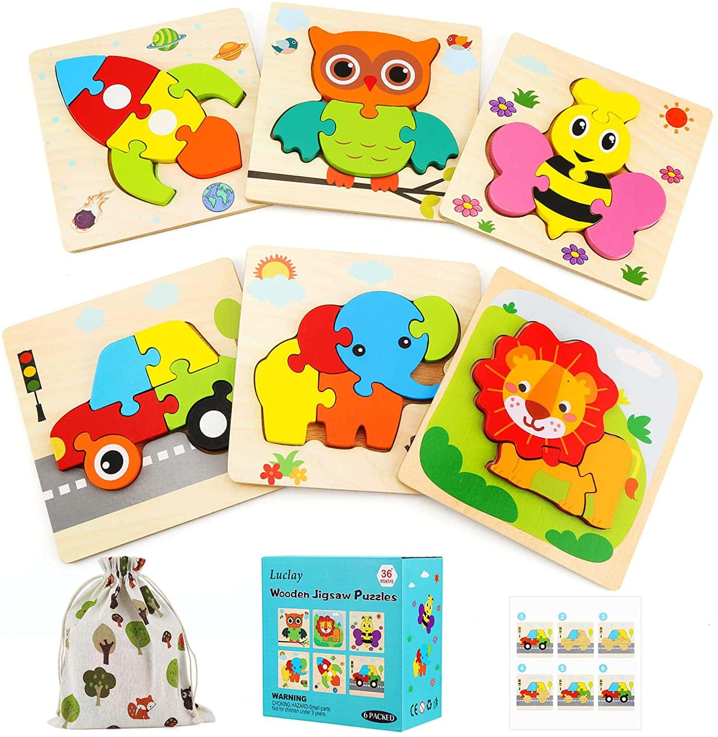 Luclay 3D Kinder Holzpuzzle Steckpuzzle