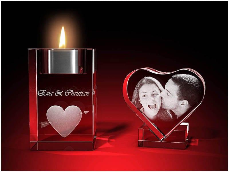 GLASFOTO.COM personalisiertes Romantik Set