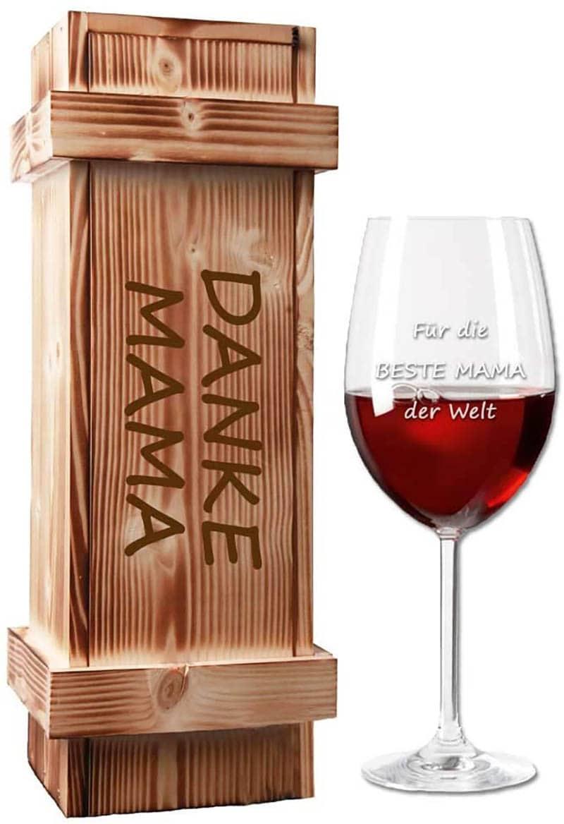 Gravur Weinglas mit Holzkiste