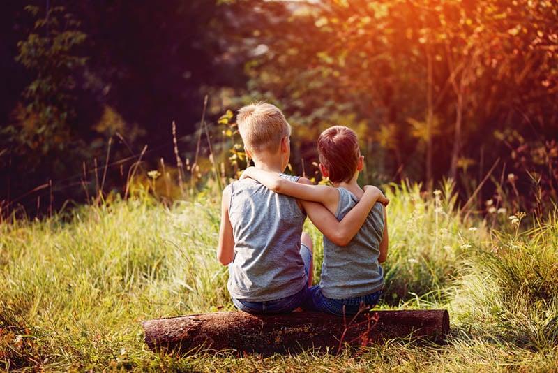 Brüder, die sich umarmen und im Wald sitzen