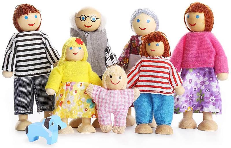 Playtee 7-köpfige Puppenfamilien
