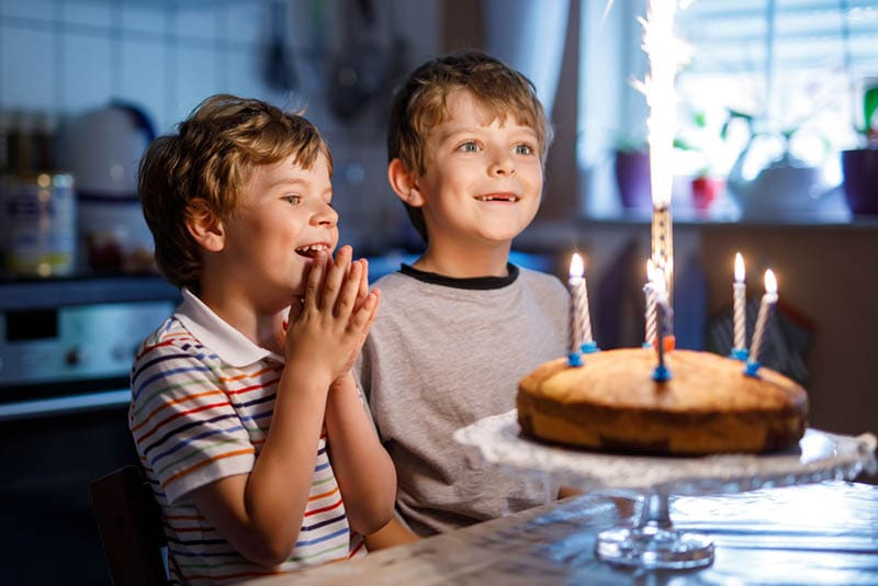 aufregende Brüder mit Blick auf Kuchen und Feuerwerk
