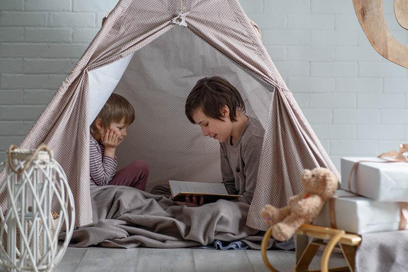 kleiner Junge liest dem jüngeren Bruder ein Buch vor