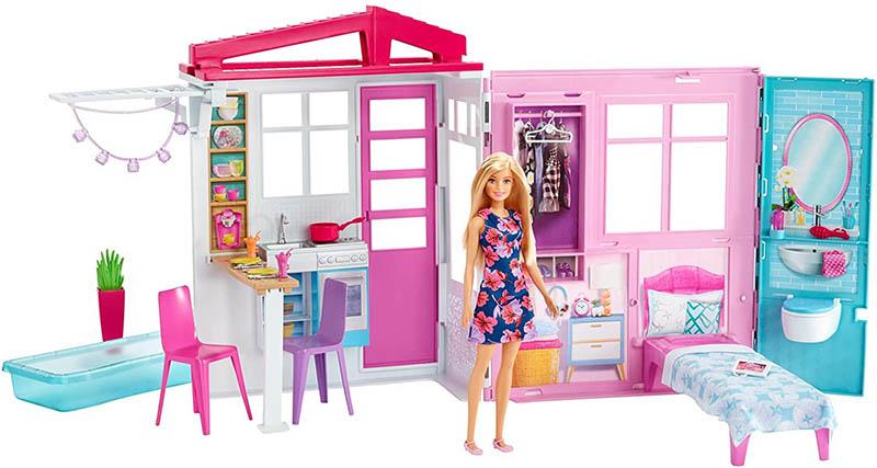 Barbie - Ferienhaus mit Puppe