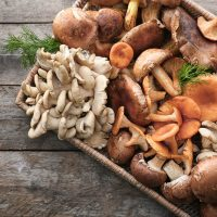 verschiedene Arten von Pilzen in einem Korb auf dem Holztisch