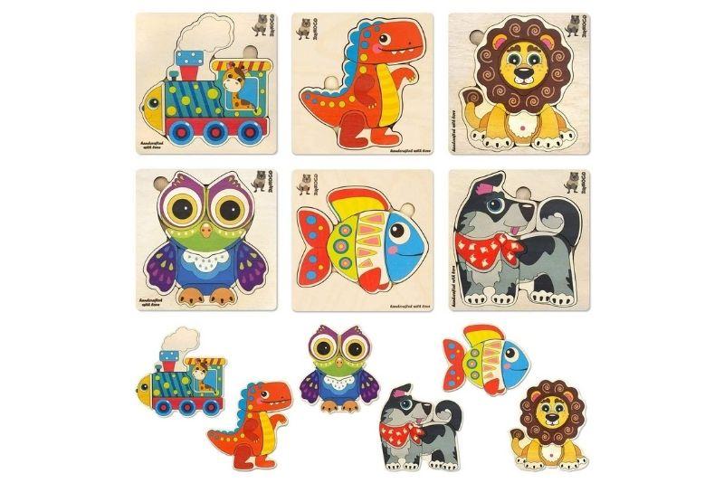 Set von 6 Kinder Holzpuzzles