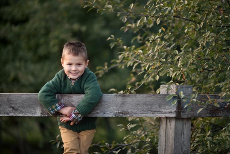 Kind im Park kletterte auf einen Holzzaun