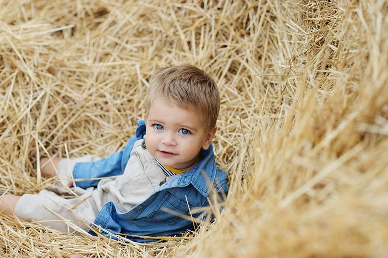 süßer Junge mit blauen Augen sitzt auf dem Stroh