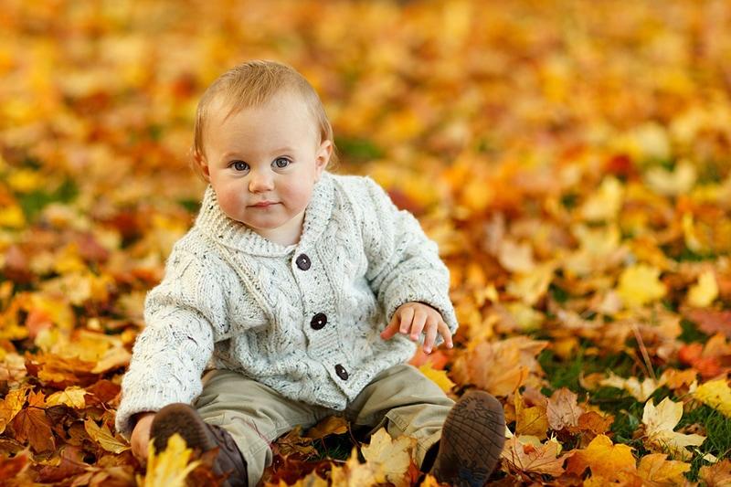 süßes Baby im Pullover sitzt auf getrockneten Blättern